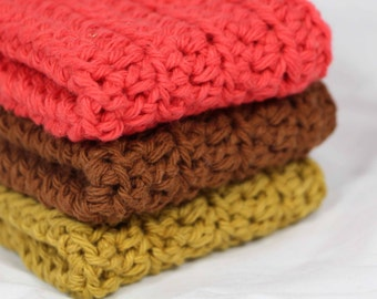Crochet Dishcloths Washcloths in Spice Colors Set of 3