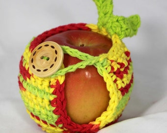 Apple Cozy Jacket Cotton Crochet Apple Holder in Apple Colors