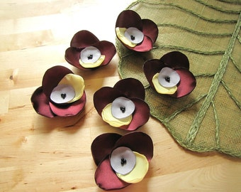 Sew on flower appliques, fabric flowers for crafts, floral embellishments, flowers for wedding bouquet crafts (6 pcs)- BURGUNDY ORCHIDS