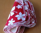 sherpa washcloth - wipes - red hawaiian print - esbaby