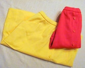 2 polyester retro mini skirts, bright colors for summer - petite size