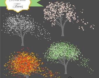 Instant Download - Seasonal Trees Vectors: Digital Clipart Set