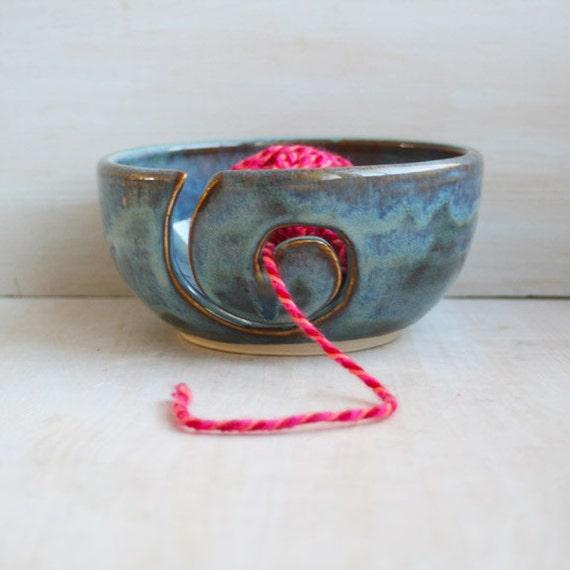 Yarn Bowl - Knitting Bowl - Smokey Blue Spiral Ceramic Yarn Holder Handmade Pottery - Knitter's Bowl