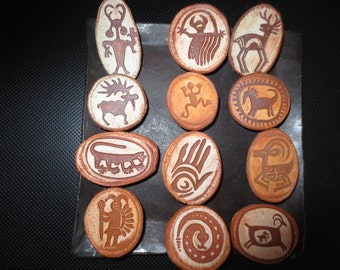 Collection of 12 Ceramic Rock Art Refrigerator Magnets