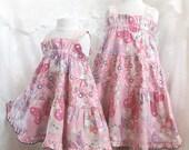 Pink Butterfly Little Girls Pink Dress Big Little Sister Matching Dresses Size 3 months - Girl 14 Matching Sister Dresses Girls Summer Dress