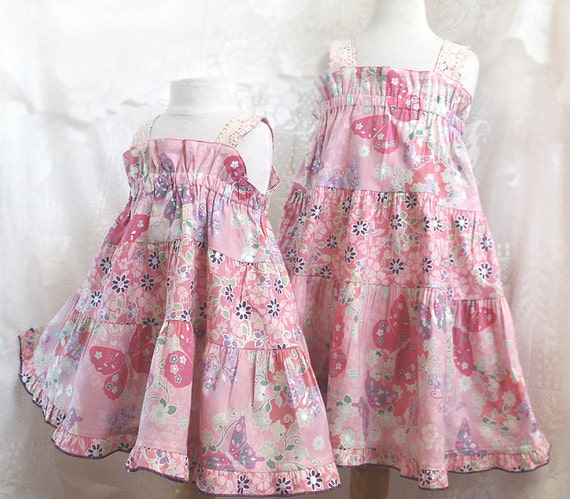 Pink Butterfly Little Girls Pink Dress Big Little Sister Matching Dresses Size 3 months - Girl 14 Matching Sister Dresses Girls Summer Dress