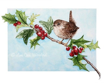 Winter wren perched on a holly branch - Watercolor giclee 8x10 print