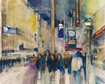 Phantom of the Opera New York Theatre District  (2014) Watercolor Print by Dorrie Rifkin - Broadway Bound