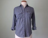 70s shirt / navy & white gingham print western style blouse top (s - m)