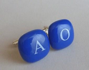 Monogram Cufflinks - White initials on blue glass