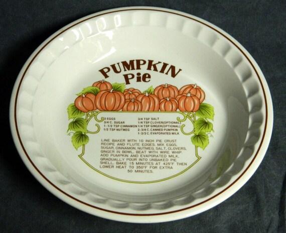 Pie Plate Ceramic Printed Recipe Pumpkin Pie Vintage Hankook