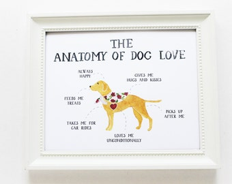 Art Print 8x 10 - Anatomy of Dog Love