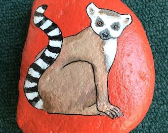 Lemur painted rock paperweight