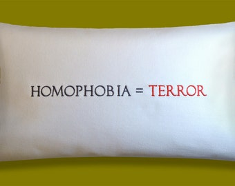 GAY PILLOW CHARITY - Embroidered Pillow Made to Order - Part of Proceeds Donated to Equality Florida