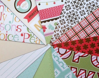 CLEARANCE DESTASH - DCWV Jolly Whimsy - Pack of 12 Different Scrapbook Papers, 6 inch X 6 inch