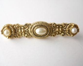 BAR PIN GOLDTONE metal and faux pearls, ornate metal work, sculptural style, embossed mold work