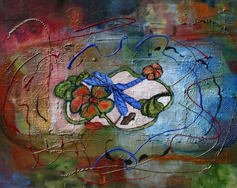Abstract Dragon Fly painting by Mary Jo Zorad Blues and Reds 20 by 30 inches