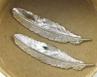 4 silver FEATHER jewelry embellishments 53mm x 14mm (ST4c)