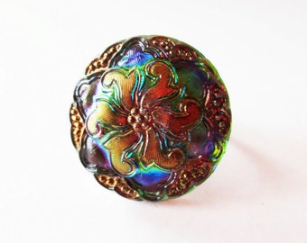 Flower ring.  Czech glass ring. Iridescent ring.  Rainbow ring.  Adjustable ring.  Czech glass button ring.