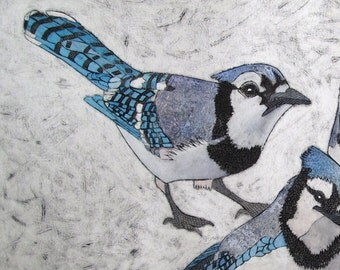 Blue Jay Bird Art, Original Collagraph Print - Blue Jays 2