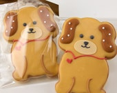 Puppy Dog Cookies - 12 Decorated Sugar Cookie Favors