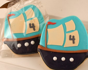 Pirate ship Cookies - 12 Decorated Sugar Cookie Favors