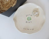 Engagement Gift, wedding ring holder, ring dish,  White Flower, handmade pottery,  Gift Boxed, Made to Order
