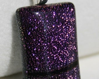 Fused Dichroic Glass Pendant - Beautiful Maroon and Black Pendant No. 0036