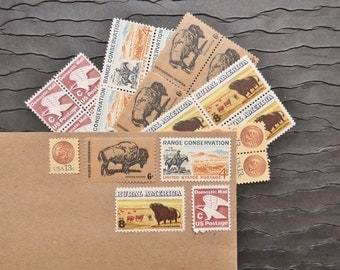 Western .. Rustic .. UNused Vintage Postage Stamps  .. post 5 letters