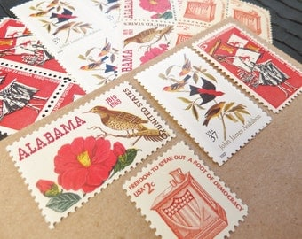 Southern Charm .. UNused Vintage Postage Stamps  .. post 5 letters
