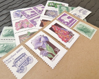 Wildflowers .. Twilight .. UNused Vintage Postage Stamps  .. post 5 letters