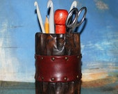vintage wooden PENCIL HOLDER, from an estate sale, Home Decor, made in Spain, Cool Vintage, K243