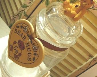 JUST ADORABLE - Vintage Repurposed Glass Apothecary Jar - Bear Hugs 5 cents - Storage Jar - Gift Jar