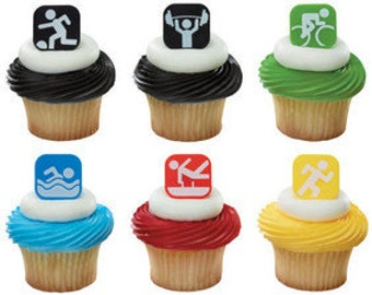Sports Fitness Rings or Cupcake Toppers(12)