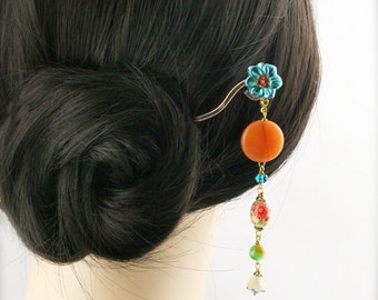 Tangerine blossom hair stick (HS) - jade, quartzite and tensha bead