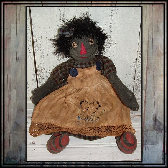 Primitive Folk Art hand embroidered black raggedy doll HAFAIR OFG cutwork apron