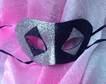 Silver and Black, Diamond Eyes, Two Tone,  Venetian Male Masquerade Mask