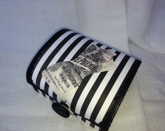 Bridesmaid Gift, Wood Box, Gift Box, Jewelry Box, Travel Case, Black and White Print, Dress form,