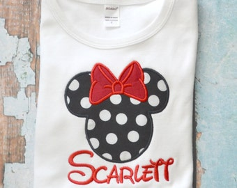 Black Polka Dot Minnie Mouse shirt, Girls Disney Shirt, Girls Birthday Shirt