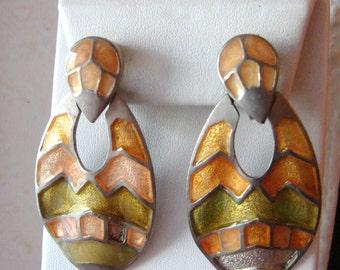SALE- Vintage autumn silver chevron earrings with orange and green enamel