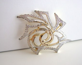 SALE- Vintage Sarah Coventry silver and gold abstract leaf brooch