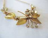 Swag Necklace Leaf & Flowers Rhinestone 1950's Gold
