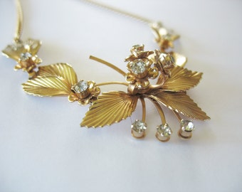 Swag Necklace Leaf & Flowers Rhinestone 1950's Gold