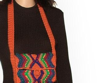 Women's Handbag Crochet Multi Color Shoulder bag Pumpkin Orange OOAK