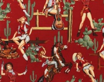 Alexander Henry Fabric Vintage Pin Up Cowgirls- FROM THE HIP Red
