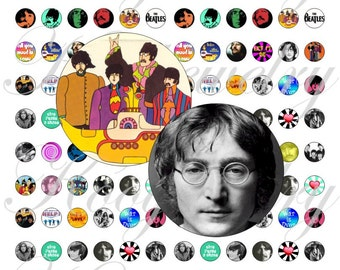 The Beatles 12x12mm for pendant, , earrings, scrapbook and more Vintage Digital Collage Sheet No.1369