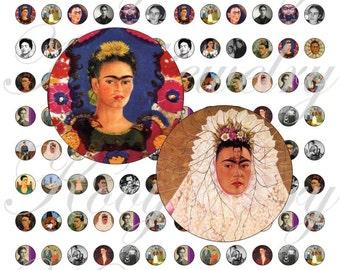 Frida Kalho 12x12mm for pendant, , earrings, scrapbook and more Vintage Digital Collage Sheet No.1312