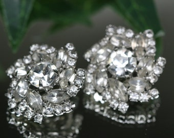 Vintage Silver Tone and Rhinestone Clip Earrings