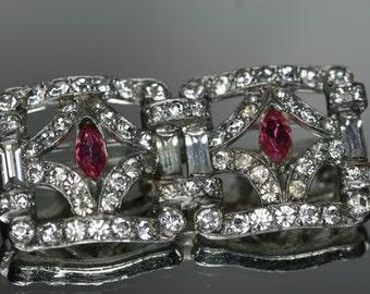 Vintage Silver Tone and Rhinestone Brooch
