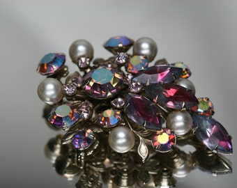 Vintage Silver Tone Metal Rhinestone and Faux Pearl Brooch -Costume Brooch